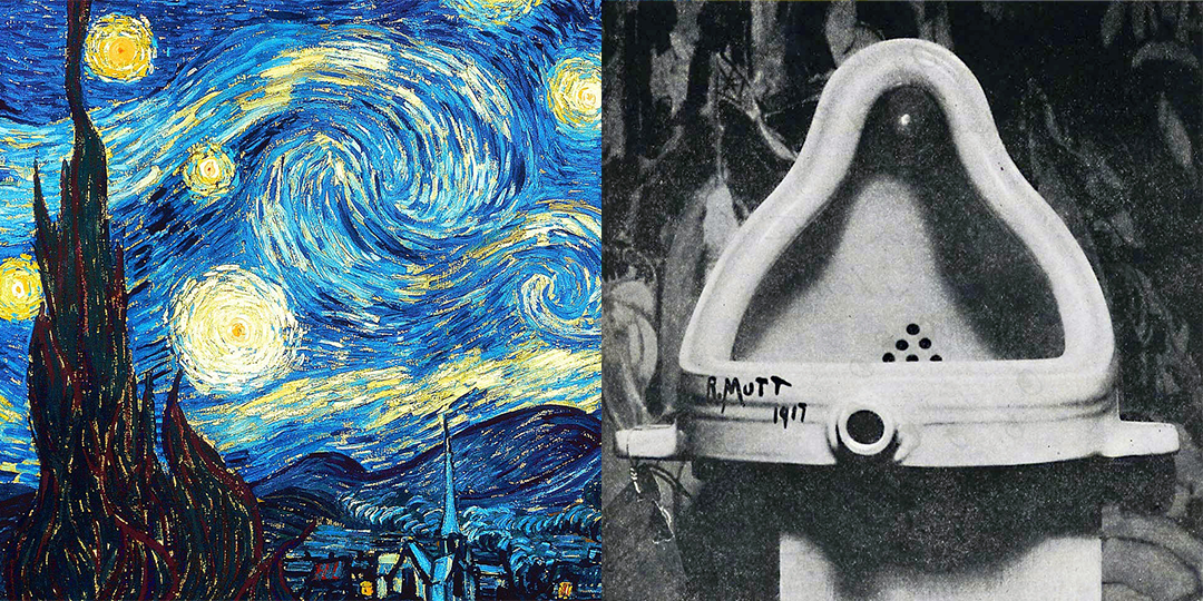 'Starry Night' by Van Gogh, and 'Fountain' attributed to Marcel Duchamp